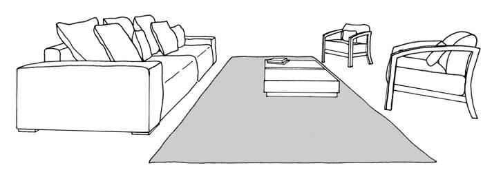 sofa and chairs surrounding rug