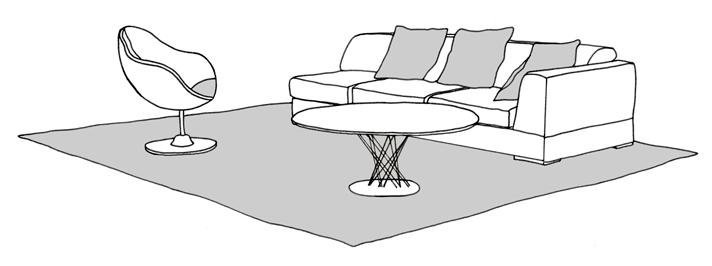 sofa and chair on rug
